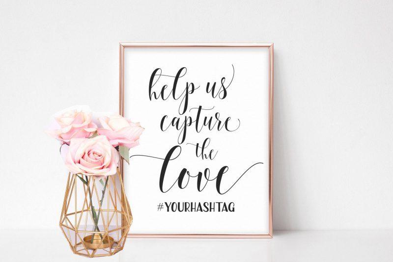 Hochzeit Schild Socialmedia