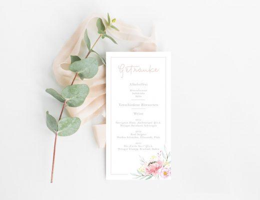 Getränkekarte Hochzeit Blumen